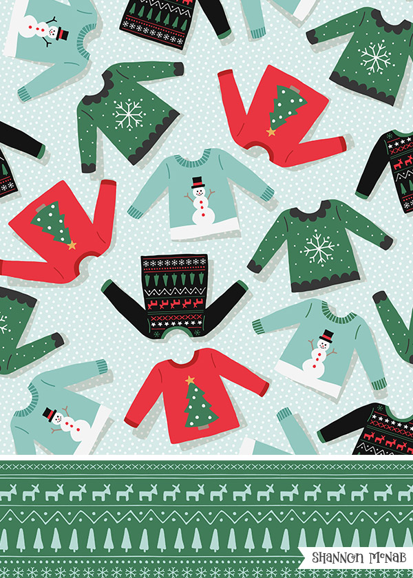 Ugly Sweater | Christmas Pattern Collection | ©2017 Shannon McNab