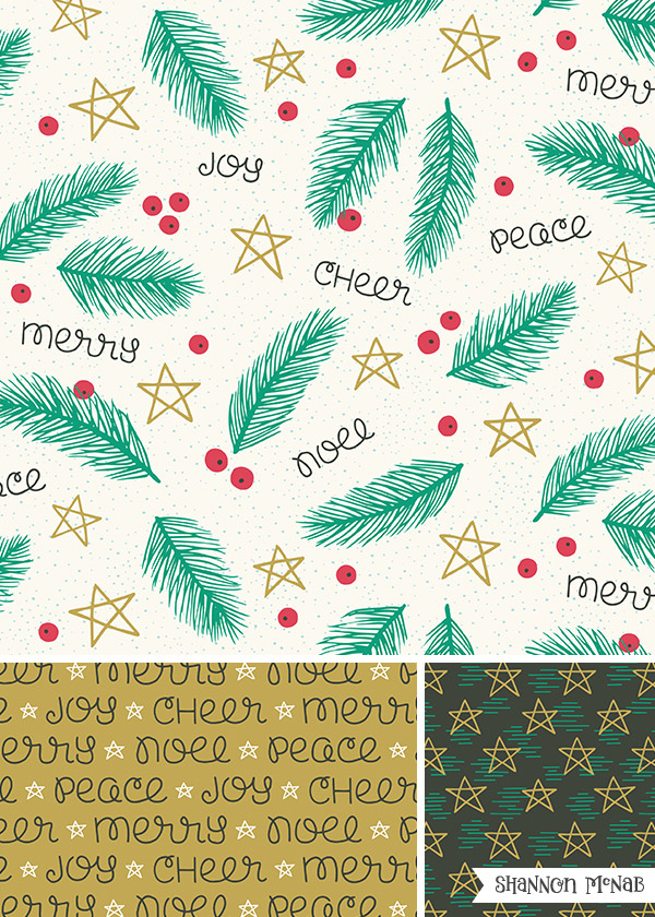 Very Merry Noel | Christmas Pattern Collection | ©2017 Shannon McNab