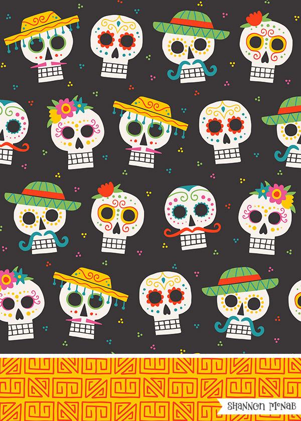 Dia de los Muertos pattern design | ©2018 Shannon McNab