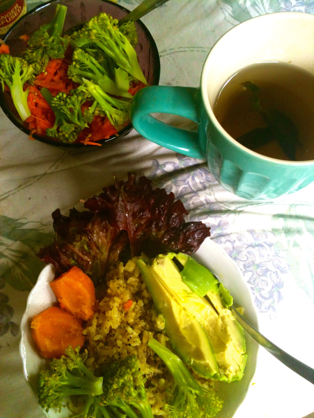 Organic veggies from local farmers in Puerto Viejo, Costa Rica & Chamomile tea