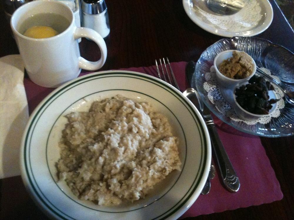 Oatmeal, brown sugar, raisins and hot water lemon.