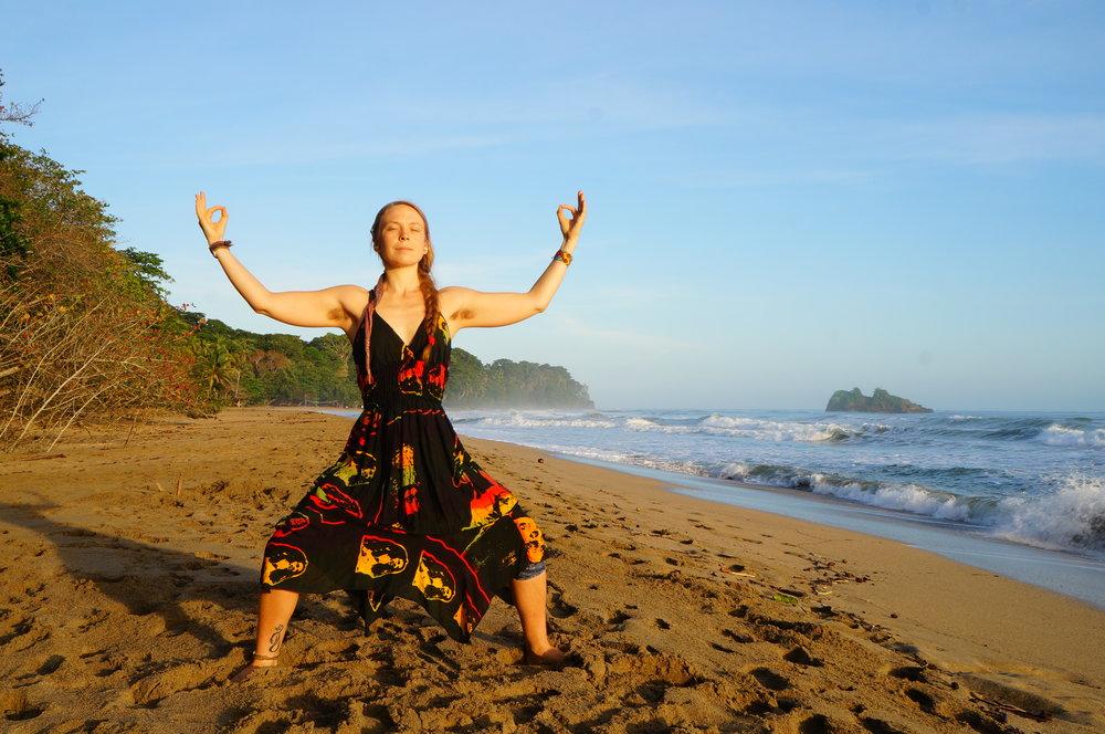 goddess pose puerto viejo costa rica
