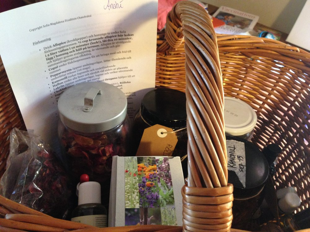 My herb basket ready for Birthing Journey