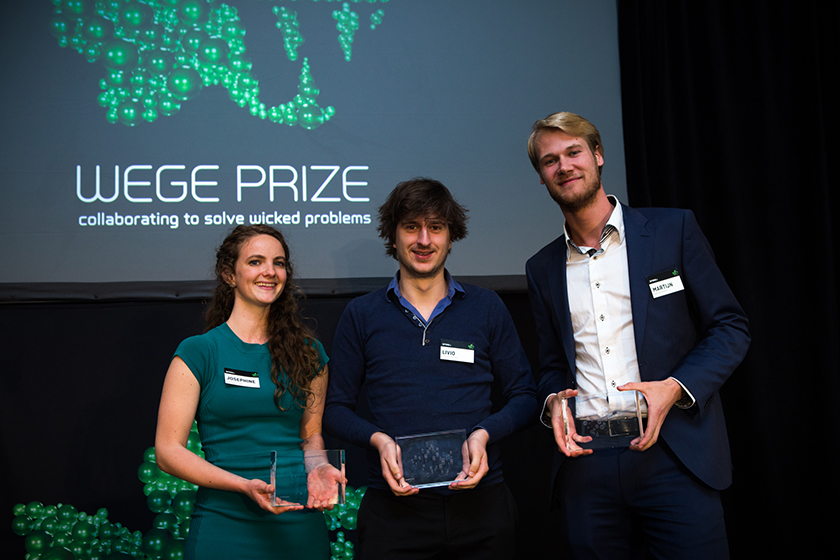 (left to right): Spaak+ members   Josephine Nijstad ,     Livio Bod, and Martijn Savenije  with their 1st place trophies at the Wege Prize 2016 Awards