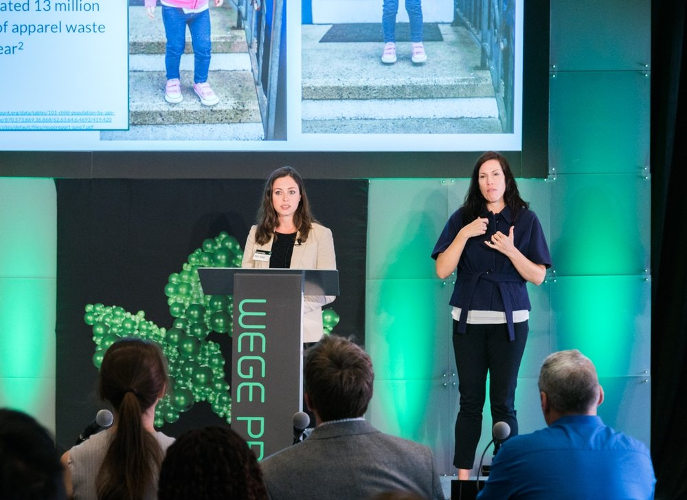 Melissa Mazzeo (left) of Booming Babies representing her team at the Wege Prize 2018 Final Presentation  and Awards Event