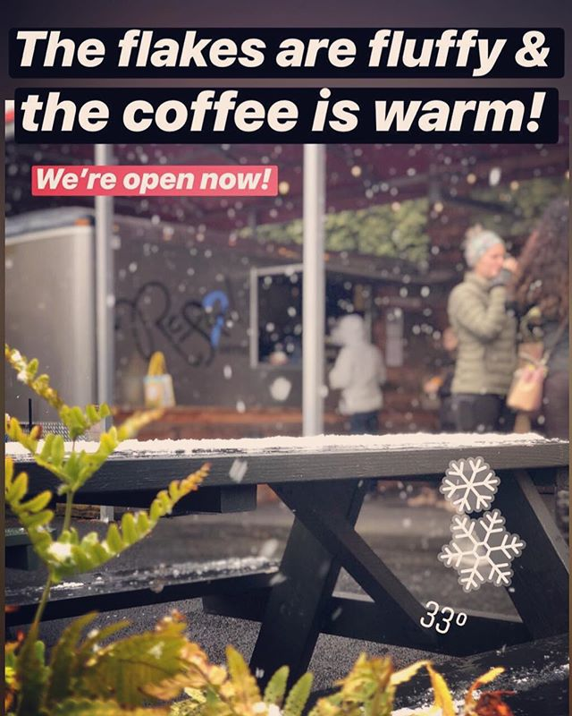 33 ain't freezing! We're here with the grub and coffee to get ya through your half-day! Come say hi! 🥶