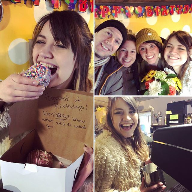 🥳 Happiest of birthdays to our @danithywanderess !! We 🍩 know what we'd do without ya!#birthdaygirl #pisces #coffeeanddonuts #watersignsbelike #stoptakingmypicture