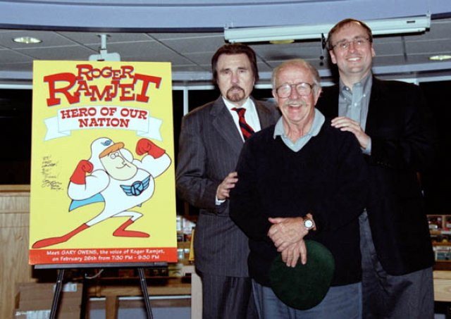 Gary Owens, Fred Crippen and Blake Snyder at the release of the Roger Ramjet DVD set        photo by Paul A. Teolis