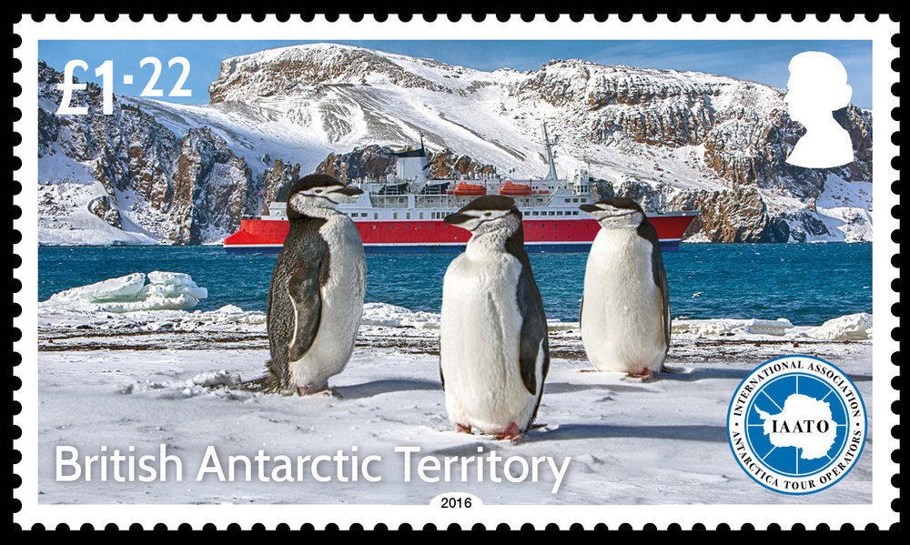 Very Proud to have a postage stage issued commemorating the 25th Anniversary of IAATO and being part of an official issue for a British Antarctic Territory. Stamps can be purchased online through the Falklands Post Service as single stamps or sheets. The photo above features three stoic Chinstrap penguins on the shores of Deception Island, with the M/S Expedition in the background