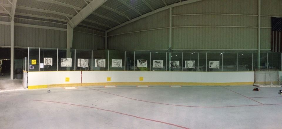 The derby portraits, hung up at Buhr Park for the  Ann Arbor Derby Dimes'  bout!