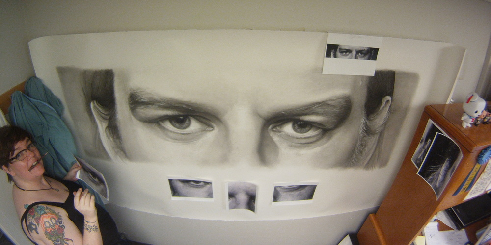 """The largest drawing I've ever attempted - back when it was in progress. Carbon dust, white chalk, 48 x 96""""."""