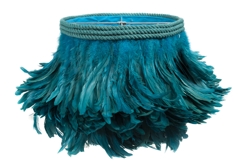 Teal Feather Lamp