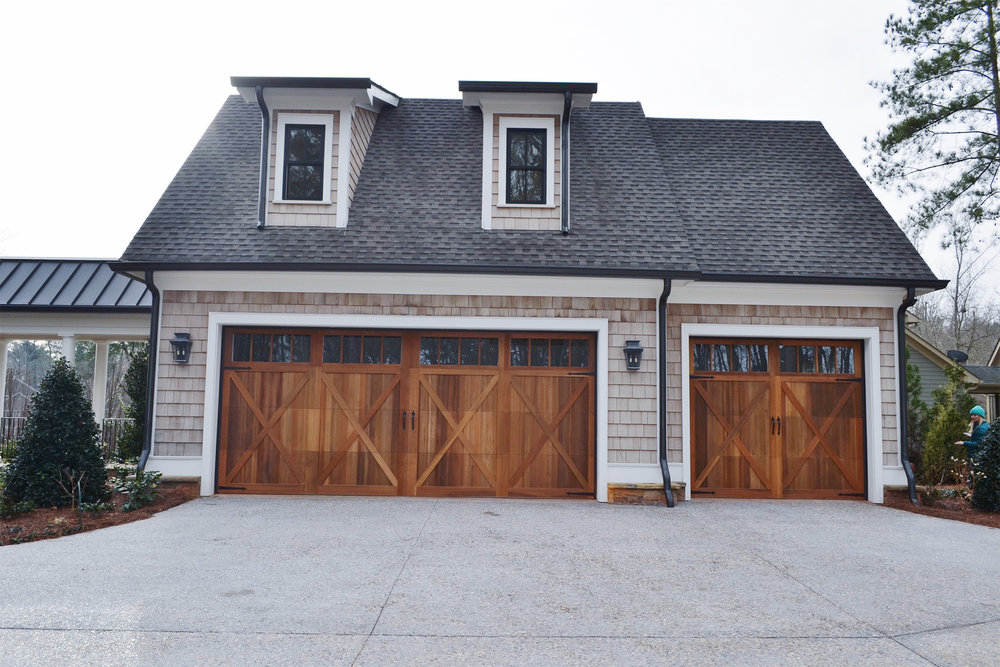 cedar shake double garage custom stain.jpg