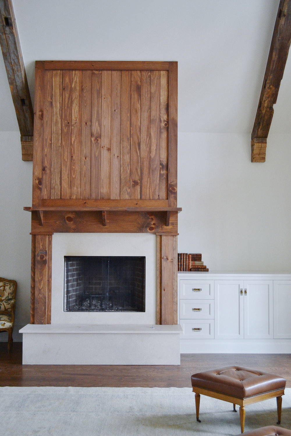 interior Lake Oconee lake house wood overmantel fireplace.jpg