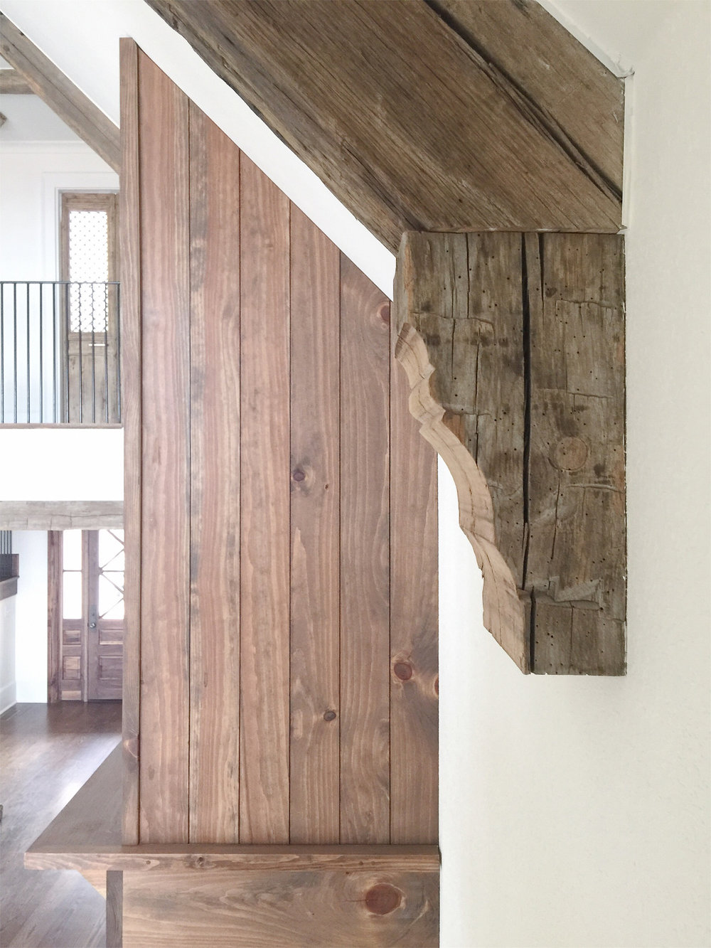 lakehouse great room wood overmantel wood corbels reclaimed wood beams.jpg