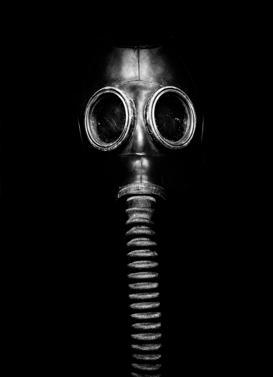 "A gas mask used as a torture implement. The technique is referred to as ""elephant"" given the trunk-like appendage of the mask."