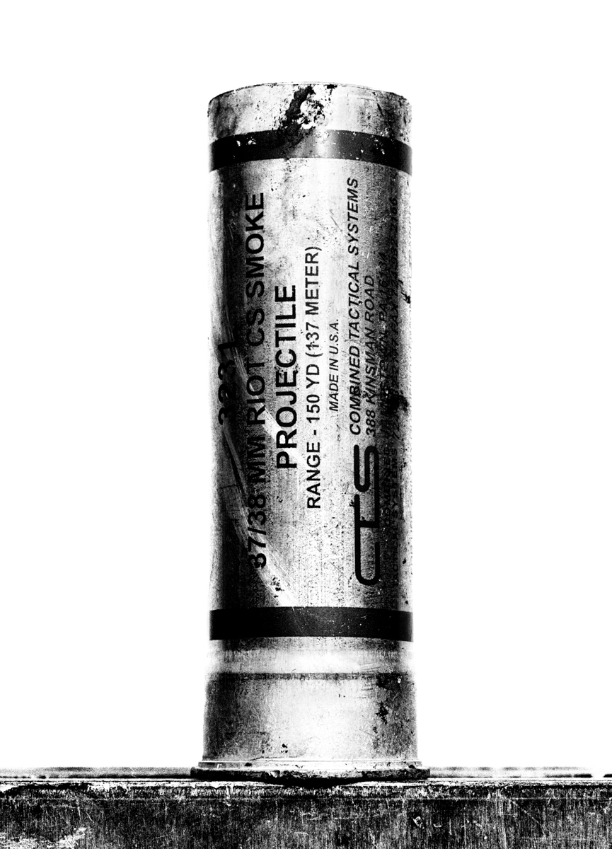 A tear gas canister, made in the United States, which was used to disperse protesters in Tahrir Square.