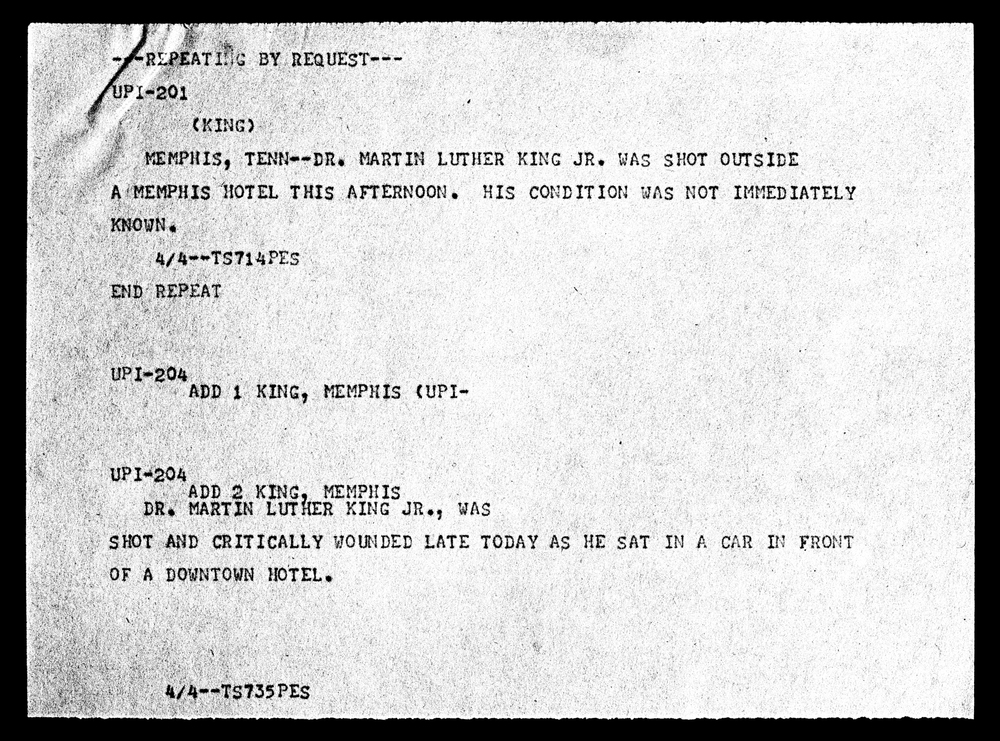 The Telegram reporting MLK's shooting, Smithsonian Museum, DC, 2009.