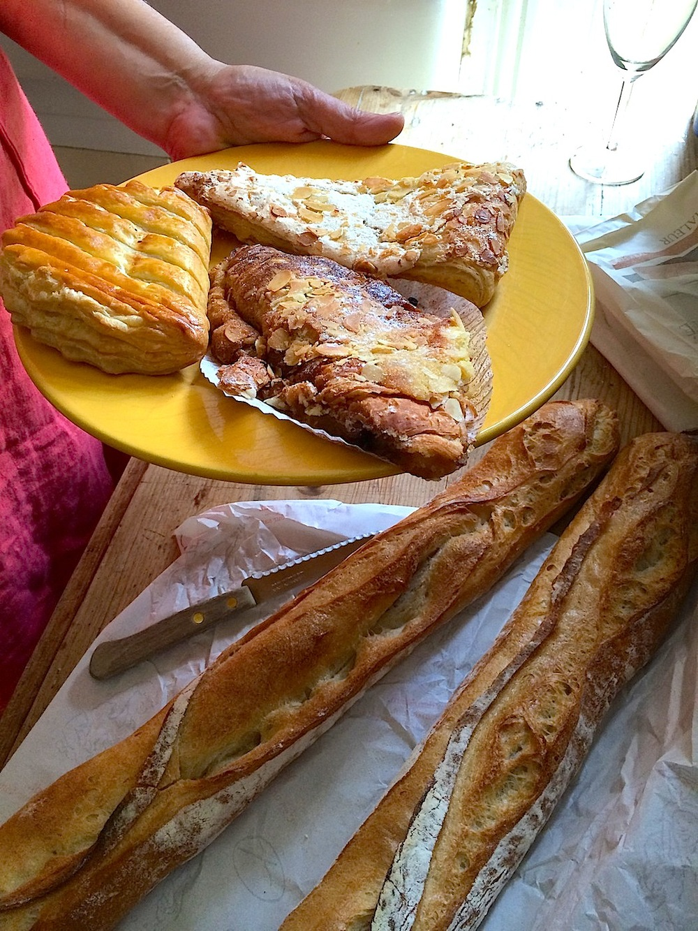 Fresh from the local patisserie boulangerie (clockwise, from left): Jésuite (so named because of its resemblance to a Jesuit's hat), Chausson aux Pommes, andCroissant aux Amandes