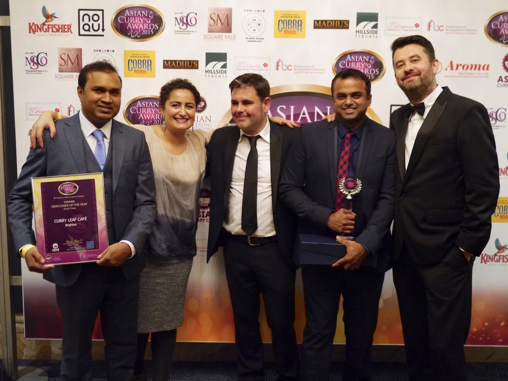 From left: head chef Gouranga Bera, operations manager Rachida Zitouni, patron Matt Turner, and co-owners Kanthi Thamma and Euan Sey pose with the award