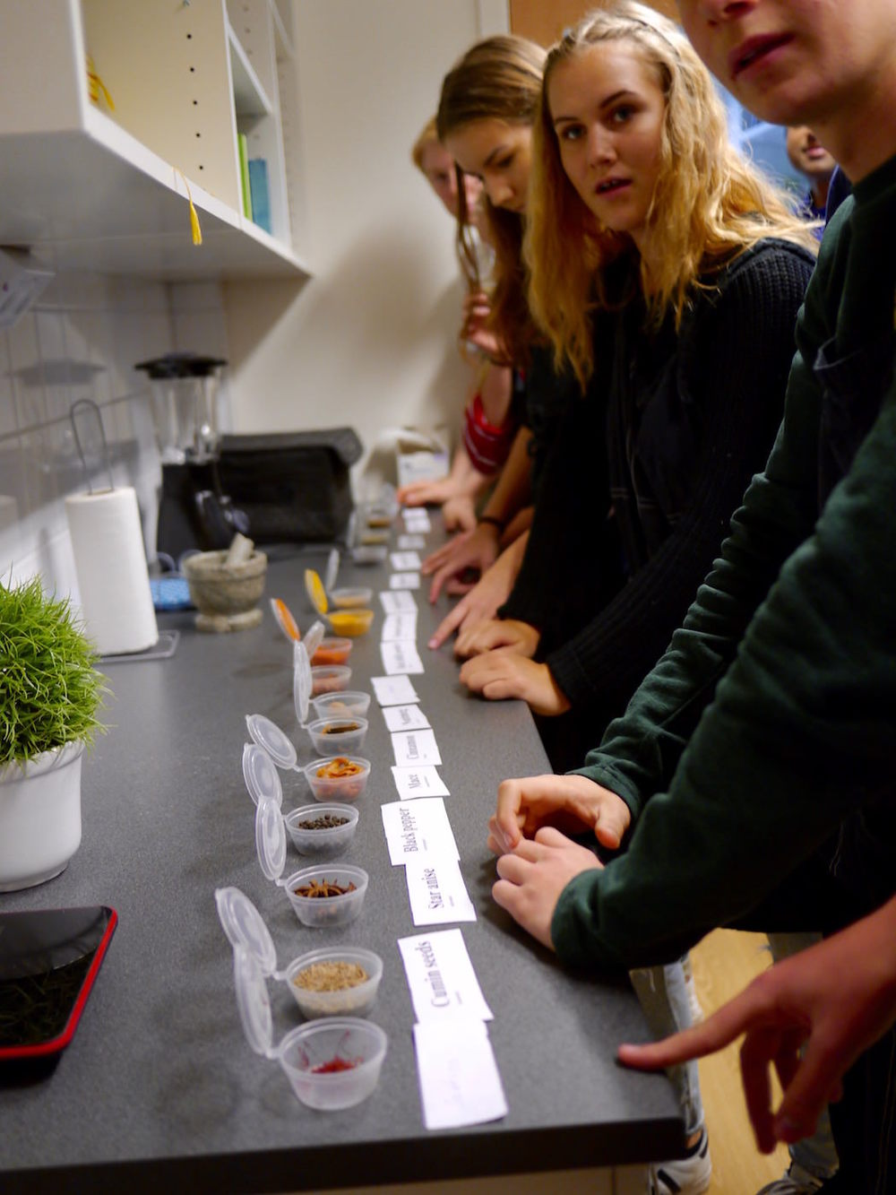 Students at the local school line up to play the Spice Game