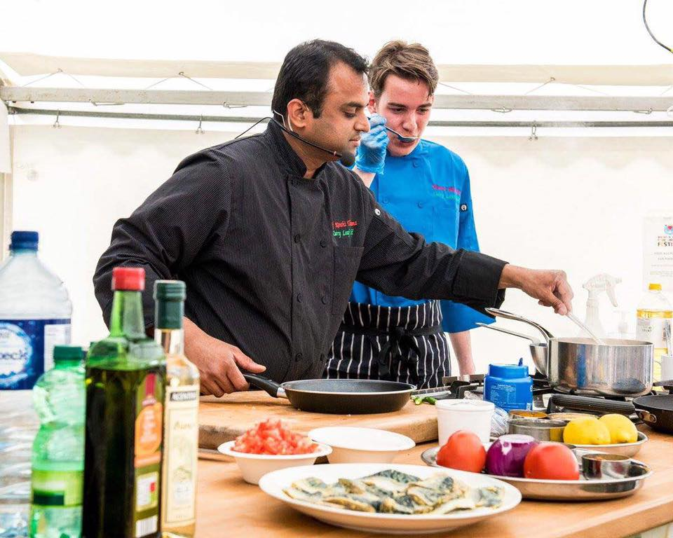 Kanthi Kiran Thamma (front) with his young Czech-born chef Roman Mikulica at the Brighton Food & Drink Festival in May 2016. Photo courtesy of Julia Claxton