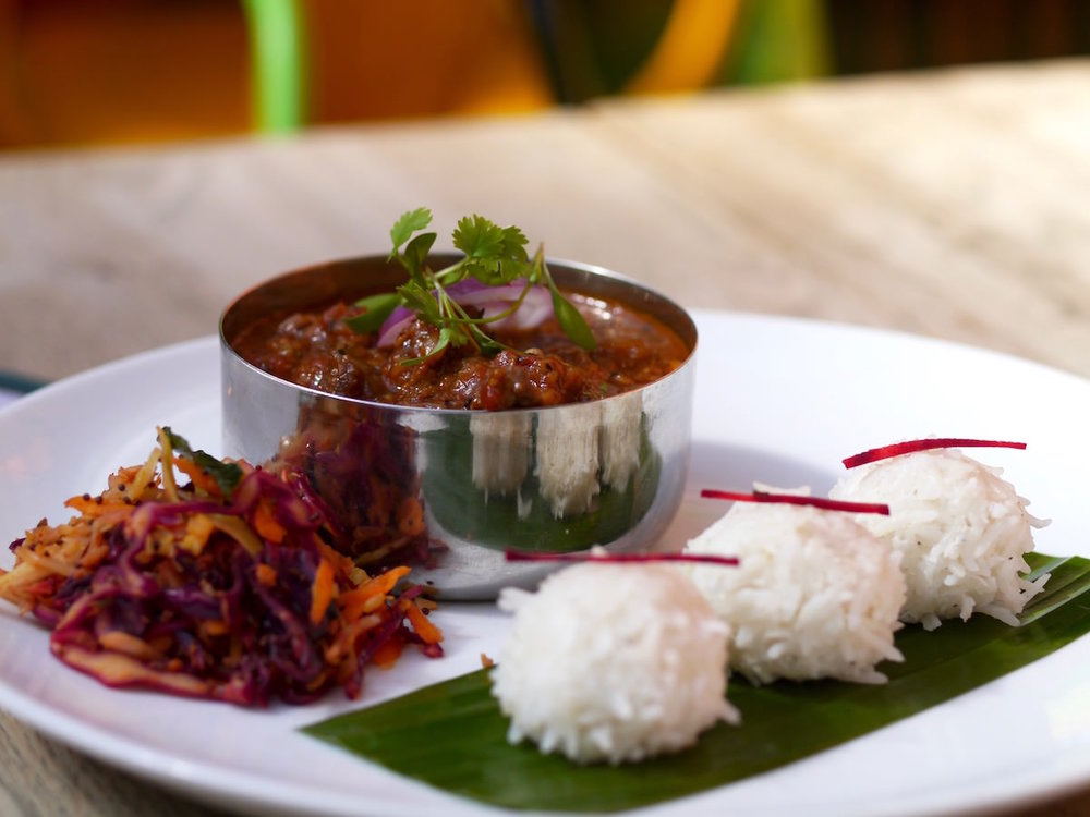 Slow-cooked beef goulash with Guntur chillies, star anise & cinnamon. Served with steamed coconut & rice dumplings and spiced cabbage salad