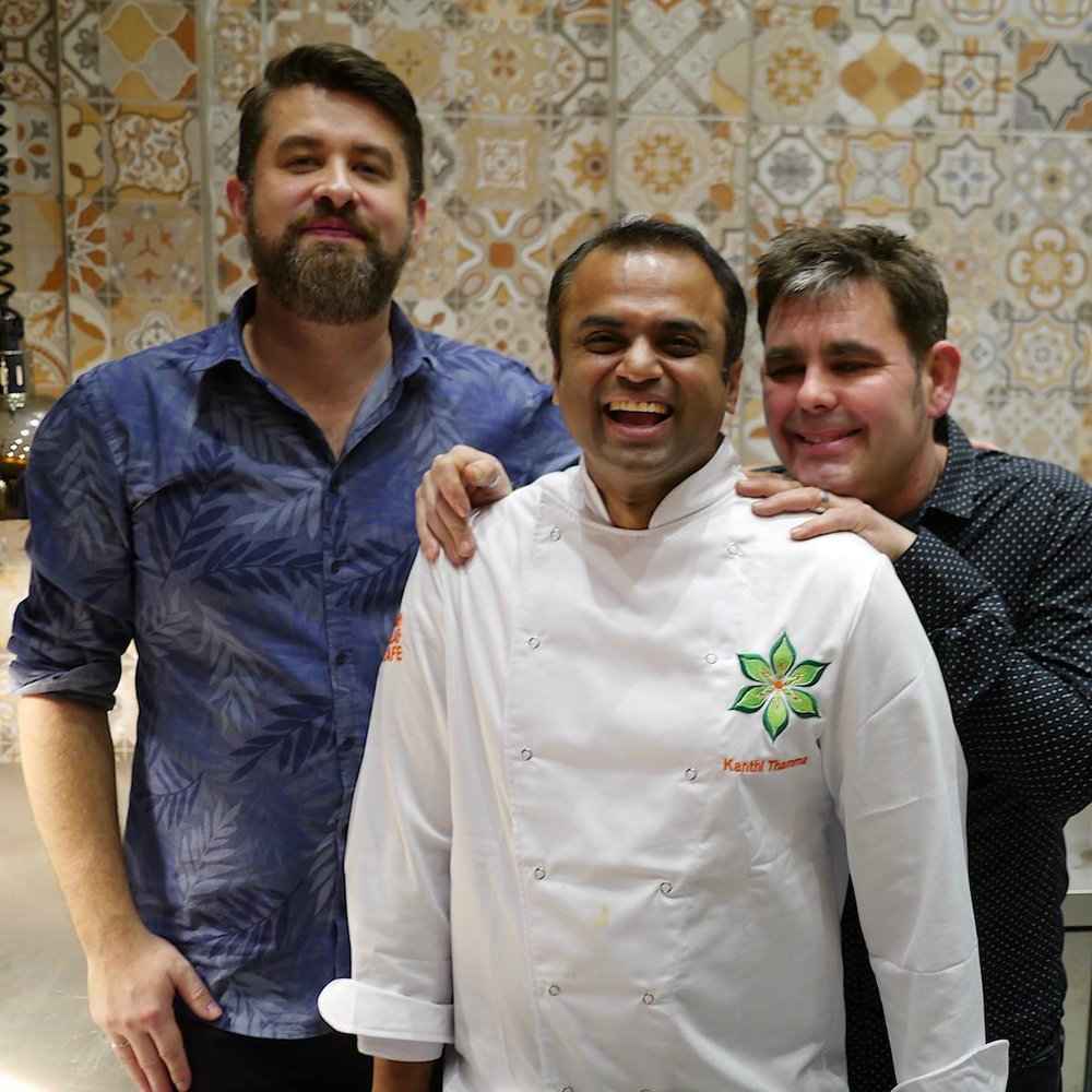 Left to right: Commercial director Euan Sey with birthday boys Kanthi Thamma & Matt Turner at the Kemptown Kitchen preview event