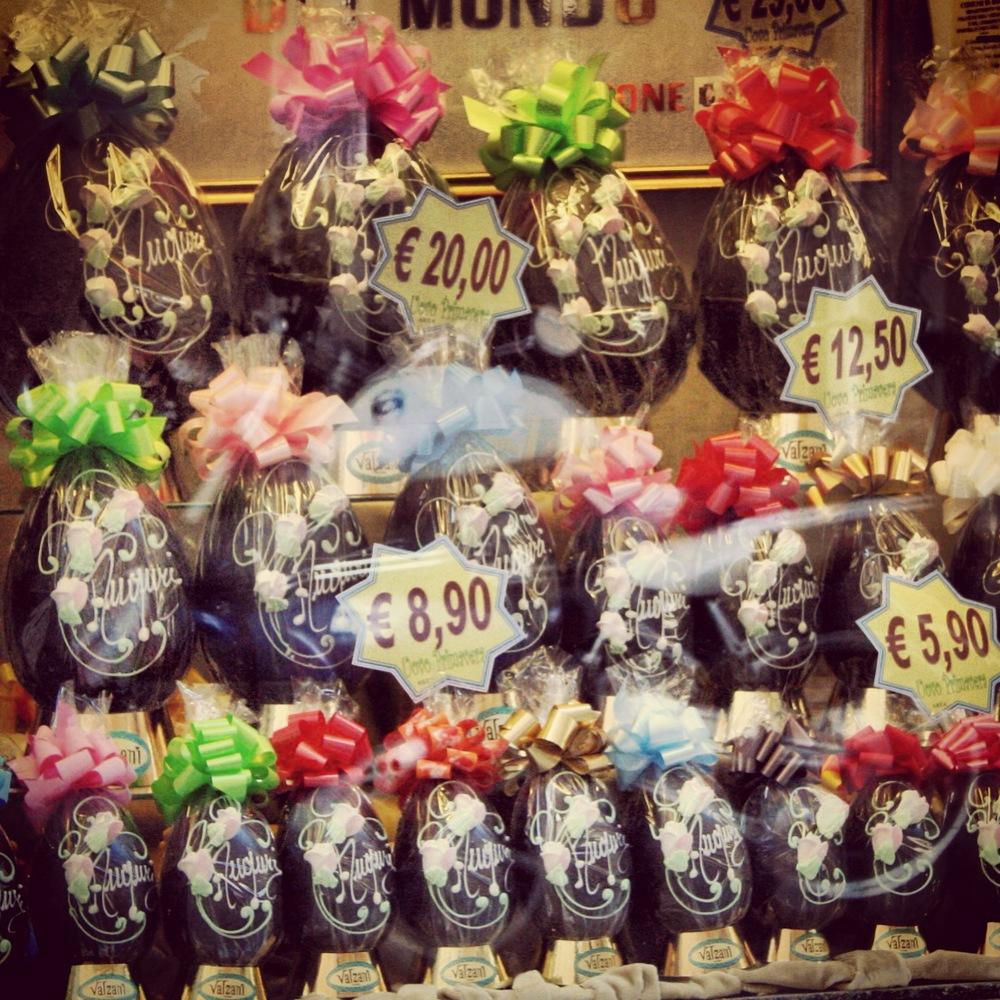 Chocolate Easter Eggs on display in the window of Valzani in Rome