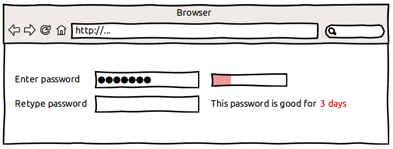 The user has entered a short, simple password.