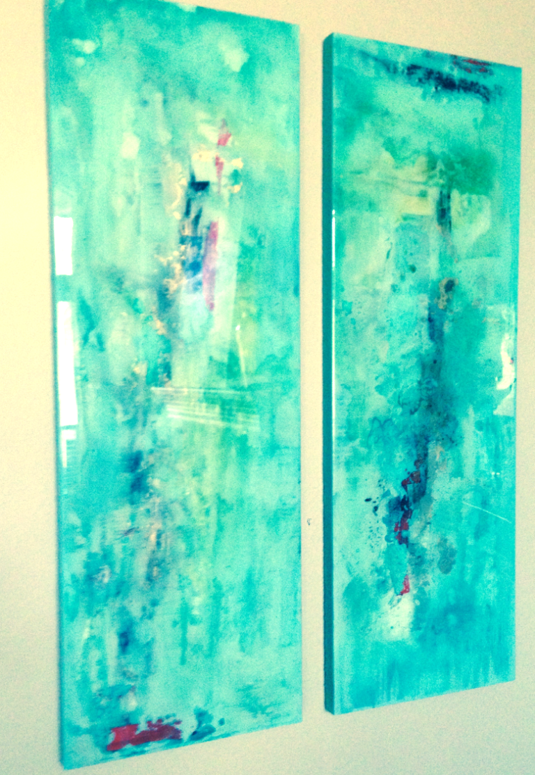 Recent resin diptych installation in Stone Oak.