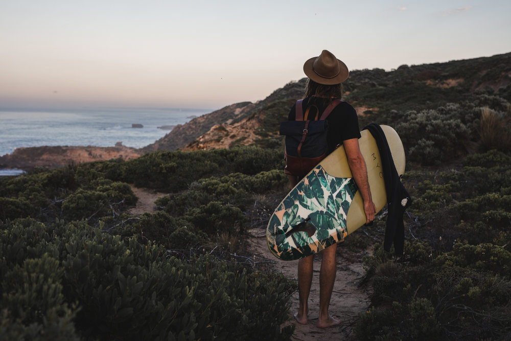 Morning surfer. Shot for fashion label Mr Elk