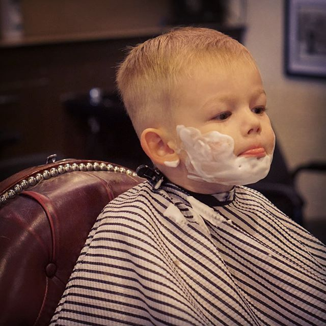 Little man wanted to try some hot lather 🤔 #virile #heartandheritage #barber
