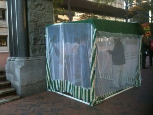 Sukkah shelter at Federal Building