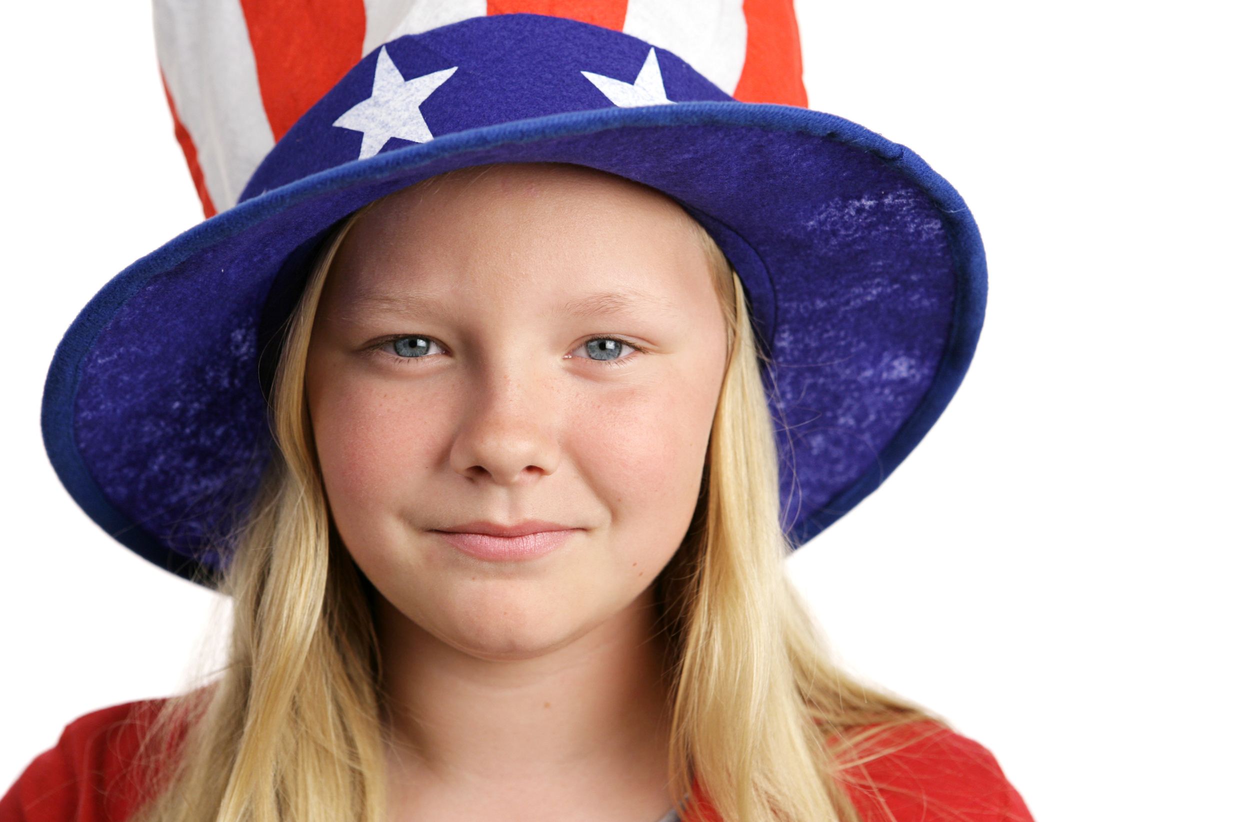 Young girl wearing an American flag-like hat