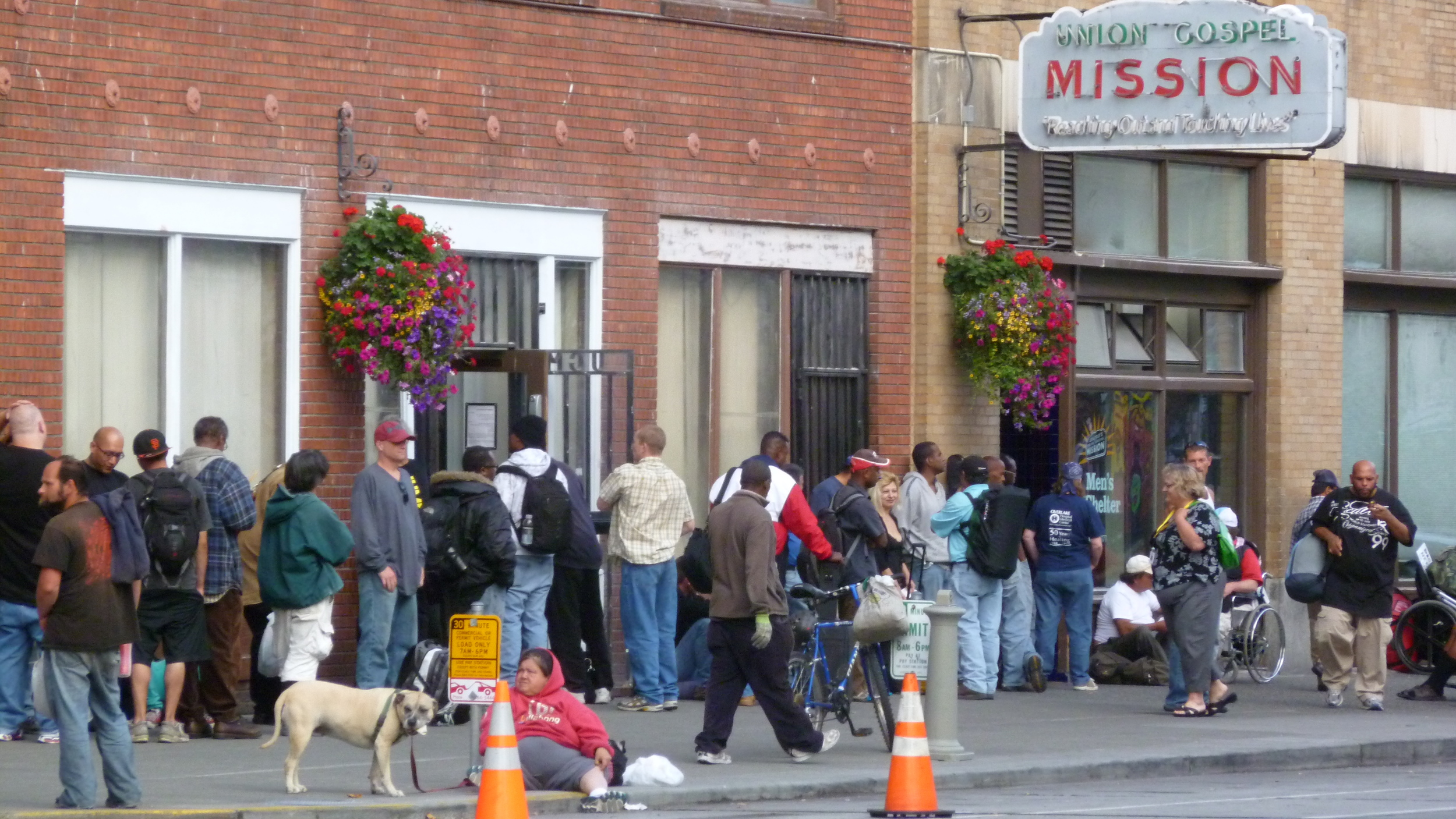 Lines of people outside Union Gospel Mission