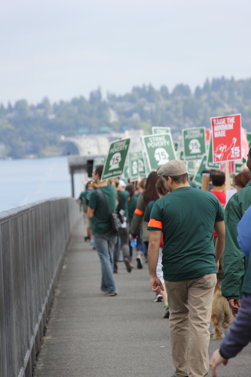 We marched over the bridge, where a boat was shadowing us waving WA-$15 signs, through Mercer Island, and ended in downtown Bellevue clocking in at nearly ten miles!