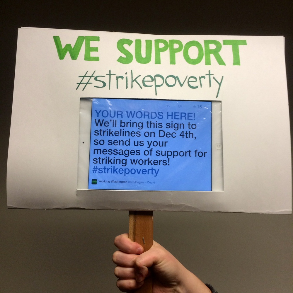 Tweet a message of support on the hashtag #strikepoverty and we'll bring your words to the strikelines!
