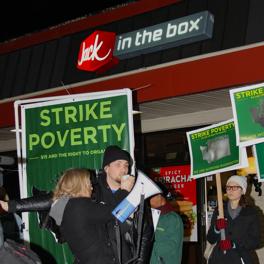 Tony, a Bellevue fast-food worker on strike for $15/hour and the right to organize.
