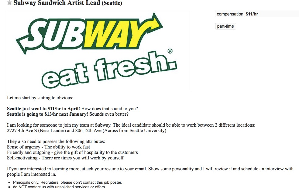 Subway Resume Sandwich Artist. great example of how to embellish ...
