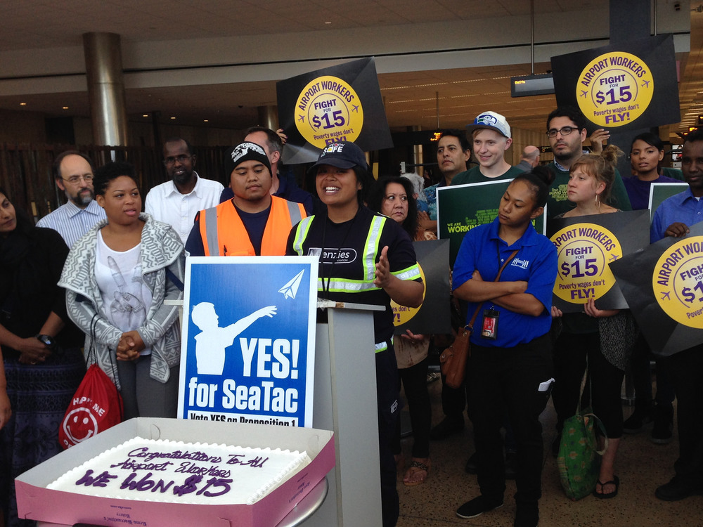 Sea-Tac Airport workers celebrate the State Supreme Court's August 2015 ruling upholding Proposition 1. More photos here for use with credit to Working Washington.