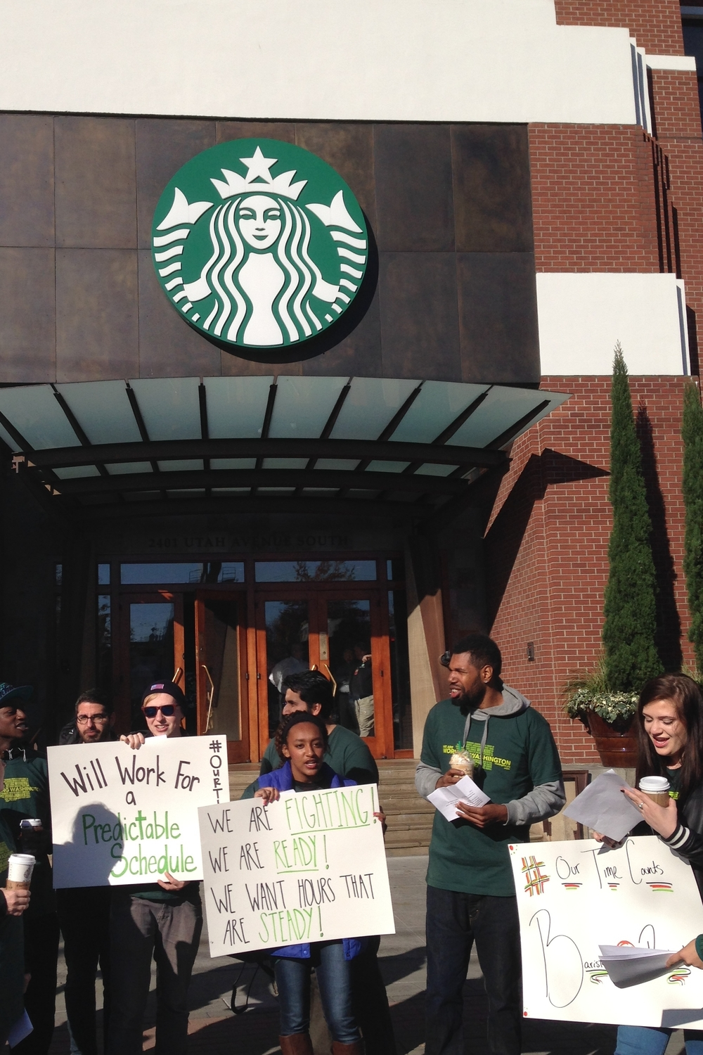 September 29, 2015: Rally outside Starbucks corporate headquarters.