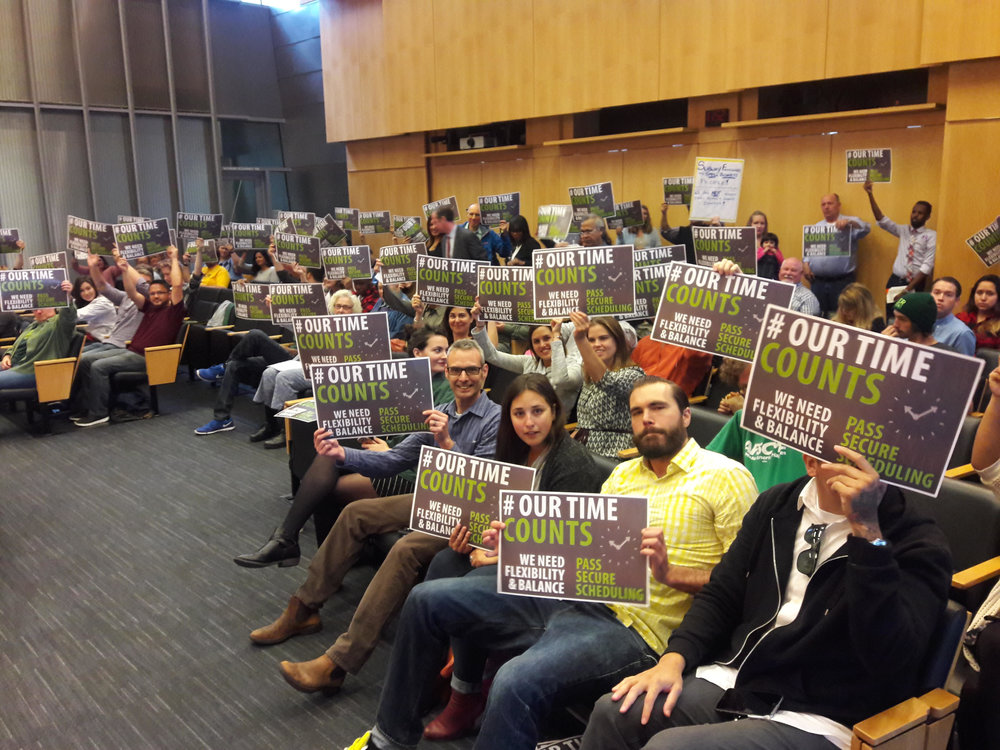 September 7, 2016: Supporters gather in Seattle City Council chambers for key committee hearing.