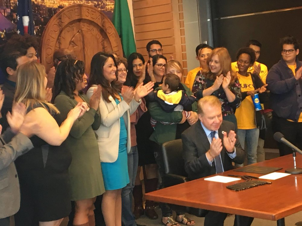 September 26, 2016: Mayor Murray signs the secure scheduling ordinance into law.