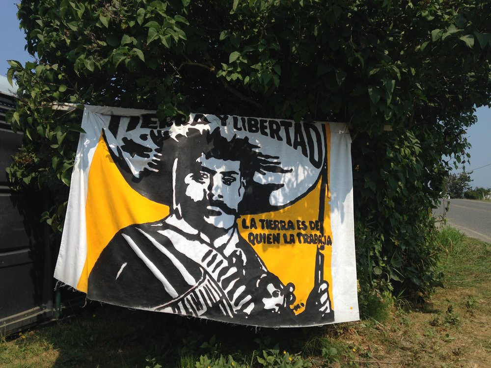 The banner at the entrance of Zapata Camp.