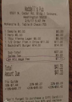 "No matter what Waddell's Pub in Spokane says, there is no such thing as a ""WA  Min Wage Fee."""