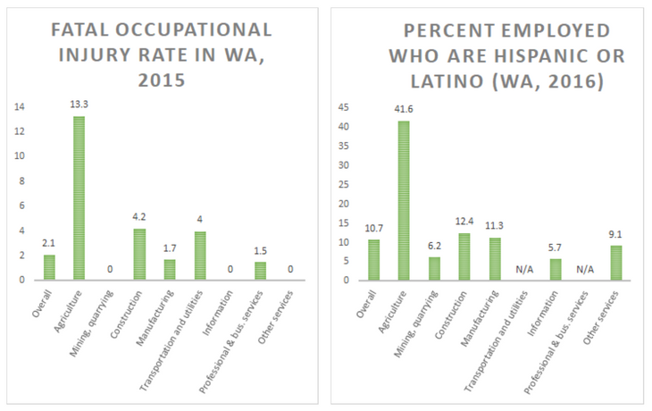The industries with the highest workplace fatality rates are also the biggest employers of Latinx workers in Washington. Selected industries in these charts are those for which we have comparable OSHA and demographic data. For the full data sets, see the  BLS fatal injury rates ,  BLS nonfatal injury and illness rates , and  census data  on race and ethnicity in NAICS sectors.