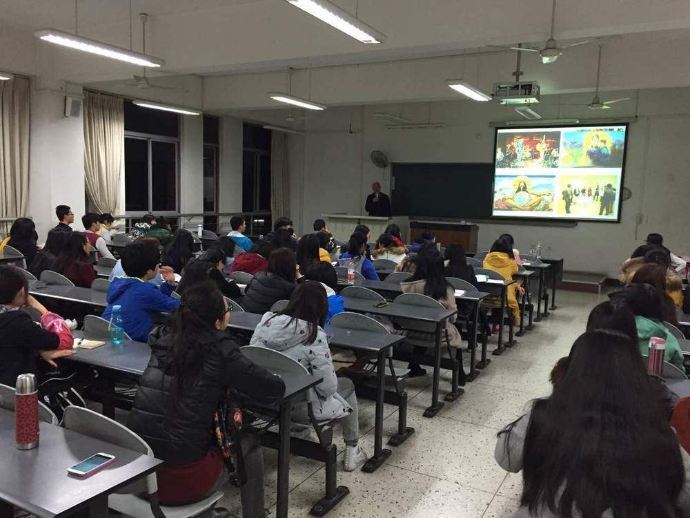 Peter Held lecturing at Sichuan University