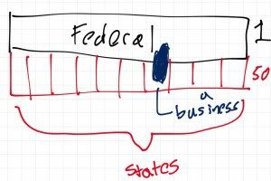 Imagine that there are 2 sets of systems, that there is a federal government in black, and 50 state governments in red. When you start a business you start it in a state and are subject to state taxes, as well as federal taxes.