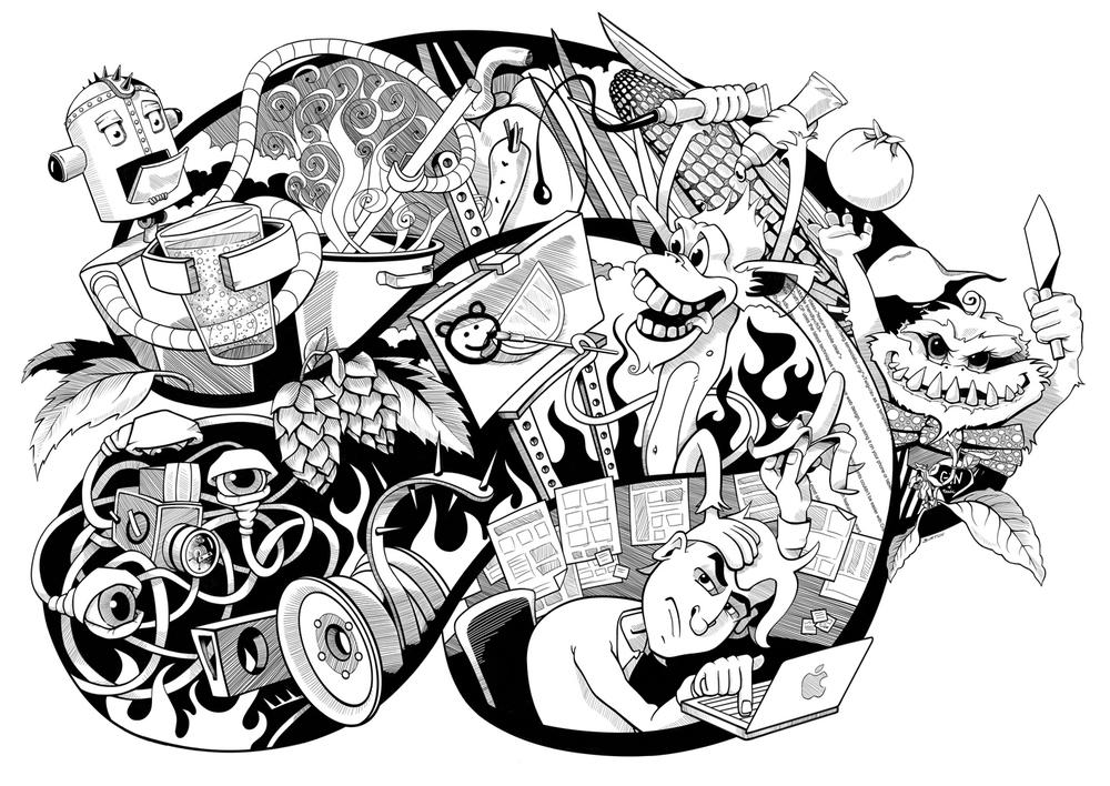 Hand-drawn, Digital Illustration
